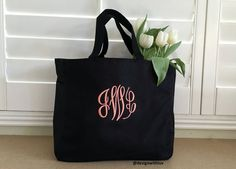 Personalized tote bag set of monogrammed tote bag, bridesmaid tote bag… Monogram Tote Bags, Personalized Tote Bags, Bridesmaid Gift Bags, Bridal Shower Gifts, Wedding Gifts, Reusable Tote Bags, Trending Outfits, Unique Jewelry, Handmade Gifts