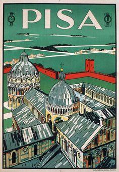 TV55 Vintage 1928 A4 Pisa Tuscany Italy Italian Travel Tourism Poster Re-Print