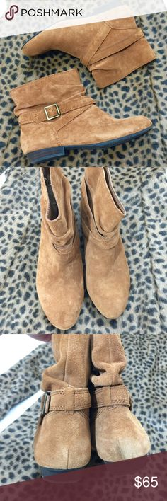 Camel Suede Ankle Booties Wore once! Very comfy! Can fit 7.5-8 Look great with everything! Gianni Bini Shoes Ankle Boots & Booties