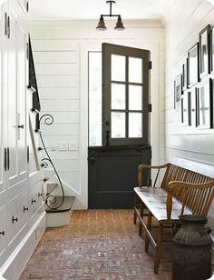 I like this entrance. Indoor brick floors probably look better than they are. But they do look great.