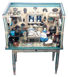 German Wooden Doll House Kitchen on Original Stand with Original Furnishings x x Antique Dollhouse, Wooden Dollhouse, Wooden Dolls, Dollhouse Dolls, Dollhouse Furniture, Dollhouse Miniatures, Miniature Rooms, Miniature Kitchen, Mini Doll House