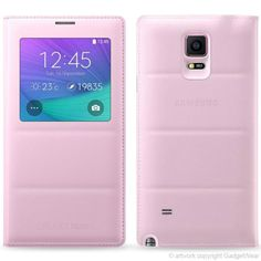 Official Samsung S-View Smart Padded Folio Flip Case Cover for Samsung Galaxy Note 4 - Pink