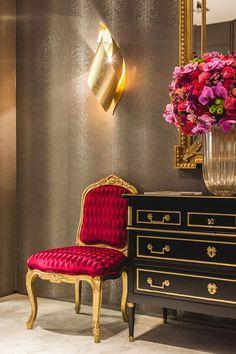 Luxo!! Pink, dourado e preto... Ouse em ambientes mais sérios, detalhes marcantes dão um toque de personalidade.