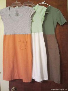 Из двух футболок - большой (мужской) и маленькой (женской) шьём платье домашне-дачное!