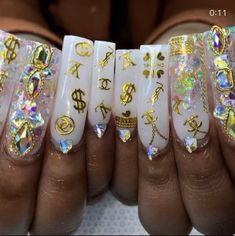 Drip Nails, Bling Acrylic Nails, Rhinestone Nails, Stiletto Nails, Gel Nails, Nail Polish, Cute Acrylic Nail Designs, White Nail Designs, Classy Nails