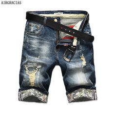 Discount Up to Hot Selling Summer Casual Thin Short Homme De Marque 2018 Korean Youth Mens Denim Shorts Elasticity Distressed Skinny Jeans Men Ripped Shorts, Denim Shorts, Ripped Denim, Short En Jean, Short Jeans, Jean Court, Jean Straight, Vogue, Distressed Skinny Jeans