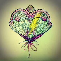 #hearttattoo #mothtattoo Paisley, Doodles, Tattoo Flash, Zentangles, Drawings, Moth, Illustration, Instagram Posts, Heart