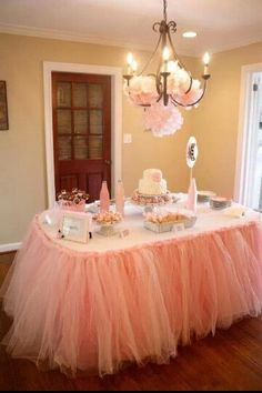 Tulle table skirt for a baby shower decoration idea.
