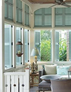I love the open sun porch and the shutters. Good