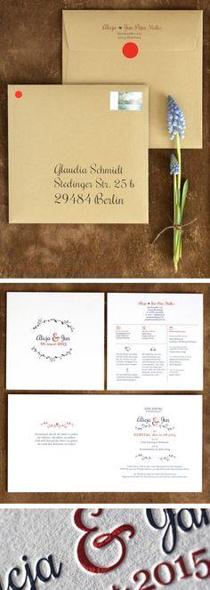 Letterpress Wedding Invitation with deep impression #Einladung #Hochzeit