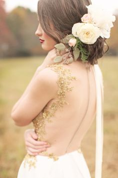 Floral decorated hair: http://www.stylemepretty.com/louisiana-weddings/2014/07/21/louisiana-rustic-chic-wedding-inspiration/ | Photography: Brandi Smyth - http://brandismythphotography.com/