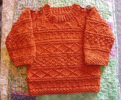 Stricken Easy Baby Aran sweater by Sarah Hoffman-KnitNet 2009 free pattern, Boys Knitting Patterns Free, Baby Sweater Patterns, Knit Baby Sweaters, Toddler Sweater, Knitting For Kids, Baby Patterns, Knitted Baby, Blanket Patterns, Double Knitting