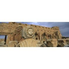 Close-up of a statue in an old ruined building Leptis Magna Libya Canvas Art - Panoramic Images (36 x 13)