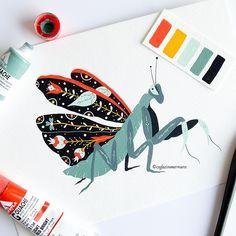 Painting Inspiration, Art Inspo, Indian Flowers, Ecole Art, Insect Art, Guache, Posca, Gouache Painting, Graphic Illustration