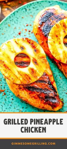 Tender, juicy chicken breasts marinated in a Teriyaki Marinade then grilled. Top them with a grilled slice of pineapple. The perfect sweet and savory combination. It's a quick and easy recipe on the grill for dinner. Make it all summer long! #chicken #grilled