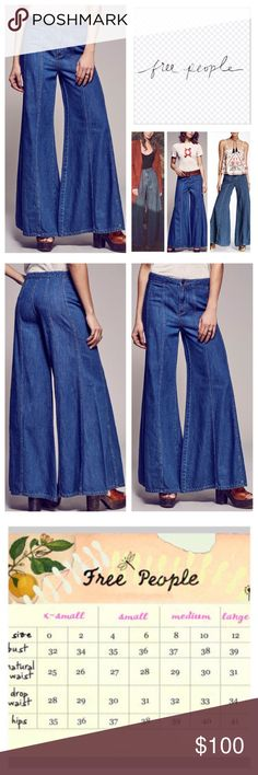 "Free People Gilmour Wide Leg Jeans.  NWT. Free People Aiden Wash Gilmour High Waist Wide Leg Jeans, 100% cotton, machine washable, 28"" waist, 10"" front rise, 14"" back rise, 33.5"" inseam, 40"" leg opening all around, vintage inspired, high waist, belt loops, four pockets, zip fly button front closure, measurements are approx. NO TRADES Free People Jeans Flare & Wide Leg"