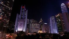 Two International Finance Centre, Hong Kong, Modern Architecture, Landmark (Sights), Night, Metropolis (City), Stock Footage,