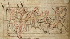 Psychomachia 'Conflict Of The Soul', Anglo-Saxon, British Library, MS Cotton Cleopatra C VIII, c.1000
