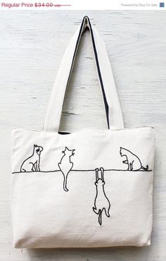 ON SALE Alley cats tote / shoulder bag / minimalist line drawing / embroidery modern / reusable bags handmade