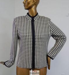 St-John-Collection-Black-Ivory-Herring-Bone-Knit-Front-Zip-Jacket-sz-12
