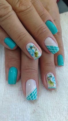 Image IMG 8403 in Beautiful nails album Beautiful Nail Designs, Beautiful Nail Art, Flower Nails, Blue Nails, French Nails, Manicure And Pedicure, Summer Nails, Pretty Nails, Nail Colors