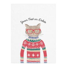 Funny Cat Wearing Glasses Ugly Christmas Sweater Fleece Blanket - home decor design art diy cyo custom