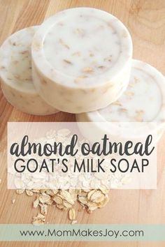 Making your own almond oatmeal goat's milk soap is easy with melt-and-pour soap . - Making your own almond oatmeal goat's milk soap is easy with melt-and-pour soap base! Handmade Soap Recipes, Soap Making Recipes, Handmade Soaps, Oatmeal Soap, Cinnamon Oatmeal, Apple Cinnamon, Soap Making Supplies, Goat Milk Soap, Homemade Beauty