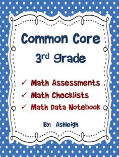 This product contain a brief 1-page assessment for each of the third grade Common Core Standards.  There is also a Common Core Standards math check...