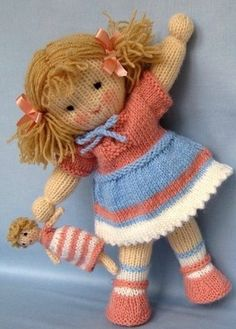 Lulu and little doll knitting pattern - INSTANT DOWNLOAD