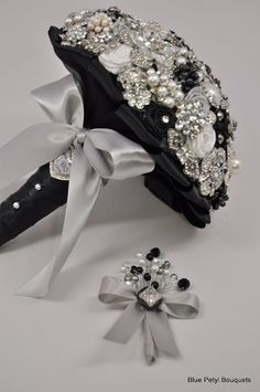 Julia Couture Brooch Bouquet in Black, Silver and White with a matching boutonniere:) #wedding #bouquet