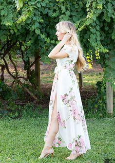White Floral Print Wrap Maxi Dress -SheIn(Sheinside)