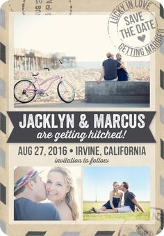 Travel themed Save the Date magnets are the perfect way to get guests excited for a destination wedding. Whether to a tropical beach location or a quaint village, find the perfect jetsetter styled save the date cards.