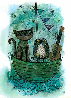 The Owl and the Pussycat illustration by Alice and Martin Provensen from the 1965 Childcraft Series Volume 1-Poems and Rhymes.
