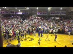 Taylor University's (Upland, Indiana) annual Silent Night tradition (2013), where the crowd remains silent until the 10th point is scored and then erupts.