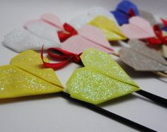Coração de origami em tecido