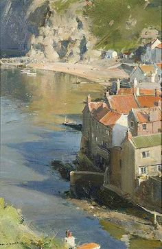Artist David Curtis 2012 'Cliff and Rooftops - Staithes Harbour' at the Richard Hagen Fine Art Gallery
