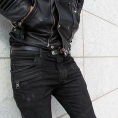 boy + leather jacket + black skinny jeans
