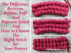Crochet Tutorial: Difference Between Bobble, Puff and Popcorn Stitch and How to Choose the Right Stitch for Your Project - Crafting Happiness Crochet Stitches Free, Tunisian Crochet, Crochet Chart, Crochet Basics, Easy Crochet, Crochet Hooks, Crochet Baby, Free Crochet, Crochet Ideas