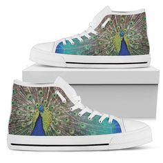 Peacock Portrait Men's High Tops    Custom printed high tops. Amazing colors and print quality. Lightweight canvas construction for maximum comfort. High quality EVA sole for exceptional traction and durability. Made with love just for you. Show Off Your Wild Side Today! #hightops #peacockgear #WildAnimalist Top Shoes, Men's Shoes, Mens High Tops, Snug Fit, Converse Chuck Taylor, High Top Sneakers, Just For You, Lace Up, Mens Fashion
