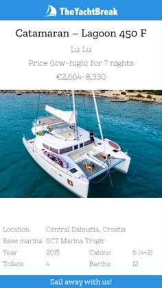 Lagoon 450 F (Lu Lu) - charter this catamaran for your sailing holiday with The Yacht Break. Credit cards accepted, get in touch today for a great price Romantic Honeymoon Destinations, Family Destinations, Romantic Getaways, Catamaran Charter, Sailing Catamaran, Luxury Boats, Luxury Yachts, Sailing Holidays, Dubrovnik