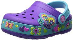 Crocs CrocsLights Butterfly Clog PS, Mädchen Clogs, Violett (Neon Purple/Aqua 5B3), 34/35 EU - http://on-line-kaufen.de/crocs/34-35-eu-crocs-crocslights-butterfly-clog-ps-clogs-2