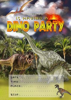 Dinosaur Party Printable Invitation Free Invites Invitations Birthday