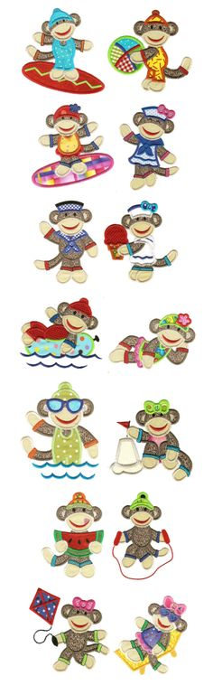 Embroidery | Applique Machine Embroidery Designs | Summer Sock Monkeys Applique