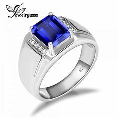 Luxury Blue Sapphire Ring - 925 Sterling SilverMen s Jewelry