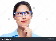 Business woman with eyeglasses isolated on white background Business Women, Eyeglasses, Stock Photos, Fashion, Eyewear, Moda, Fashion Styles, Glasses, Eye Glasses
