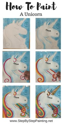 Unicorn Painting Tutorial Easy Step Best Picture For make up night party red lips For Your Taste You Easy Painting Projects, Canvas Painting Tutorials, Painting For Kids, Acrylic Painting Canvas, Diy Painting, Painting & Drawing, Beginner Painting, Unicorn Painting, Kids Canvas Art