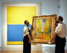 Looking back at our #Bestof2015: A part of the esteemed collection of Mr&Mrs Paul Mellon for nearly 30 years we sold Mark #Rothkos Untitled (Yellow and Blue) in May for $46.5 million  pictured here in our #London galleries with Vincent #VanGoghs magnificent L'Allée des Alyscamps which achieved $66.3 million  the top price of our Impressionist & Modern Art sales this year by sothebys