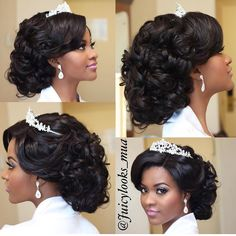 """When the bride looks like a princess  makeup & hair by @juicylooks_mua | Hairpiece: @_juicyjewels #BellaNaijaWeddings"""