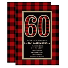 #Rustic Red Black Buffalo Plaid 60th 60 Birthday Card - #birthday #invitations