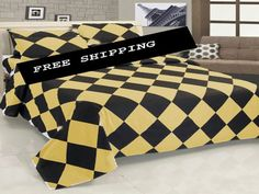 16'' 6 Pc Egyp. Cotton Khaki & Black Diamond Style Duvet Cover Set King Size.